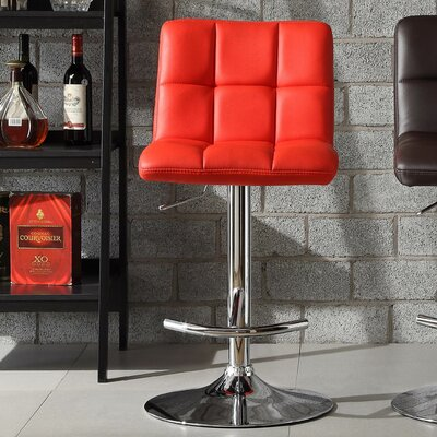 Agrippa Modern Adjustable Height Swivel Bar Stool (Set of 2) Upholstery: Red