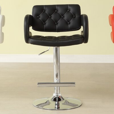 Agrippa Contemporary Adjustable Height Swivel Metal Frame Bar Stool (Set of 2) Upholstery: Black