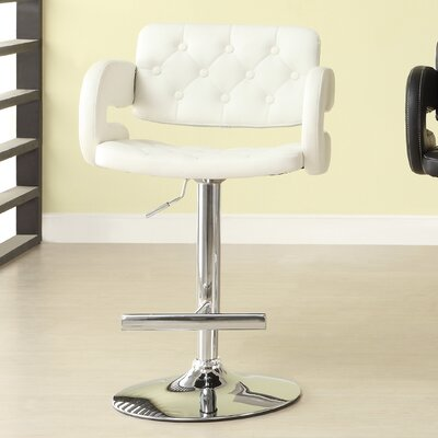 Agrippa Contemporary Adjustable Height Swivel Metal Frame Bar Stool (Set of 2) Upholstery: White