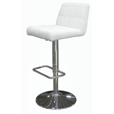 Meister Adjustable Height Swivel Bar Stool Upholstery: White