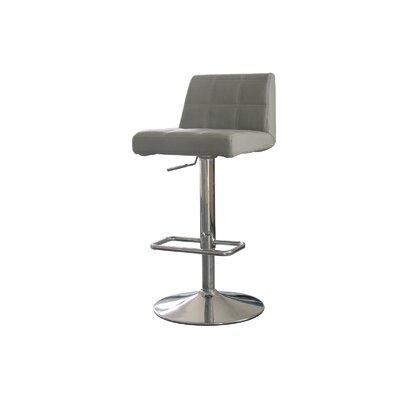 Meister Adjustable Height Swivel Bar Stool Upholstery: Grey