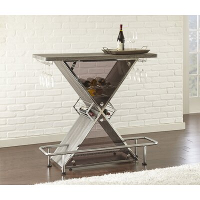 Jarett Bar with Wine Storage Color: Gray