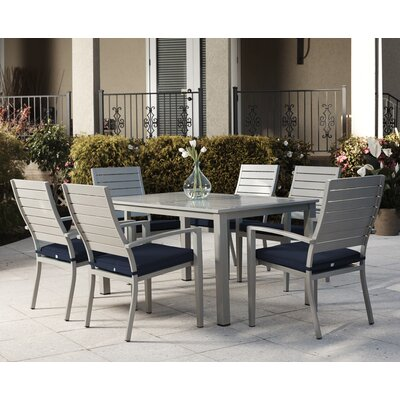 Cosima 7 Piece Dining Set with Cushion Finish: Gray/Navy