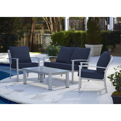 Chumbley Brushed Aluminum Patio Furniture 4 Piece Deep Seating Group with Cushion Finish: Gray/Navy