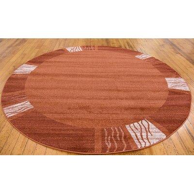 Britton Rust Red Area Rug Rug Size: Round 8