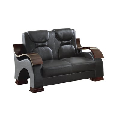 Caran Loveseat Upholstery: Black