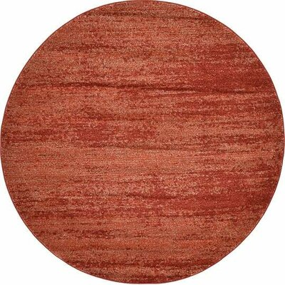 Christi Red-Orange/Pumpkin Area Rug Rug Size: Round 6
