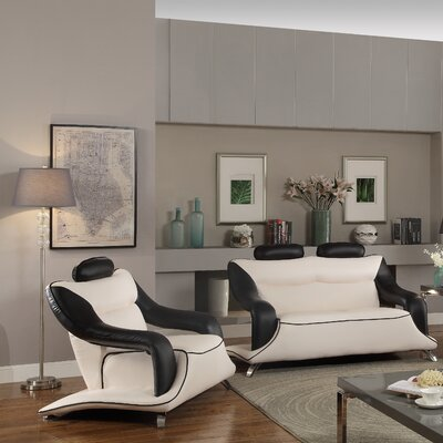 Valencia Lounge Chair Upholstery: Black/White Faux Leather