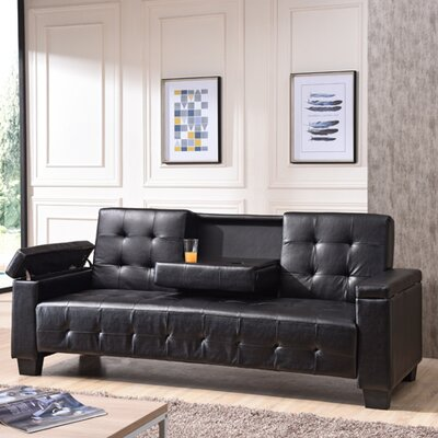 Derek Sleeper Sofa Upholstery: Faux Leather - Black