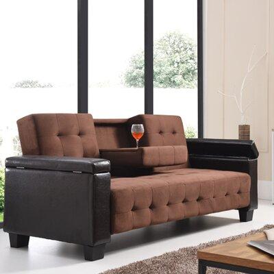 Derek Sleeper Sofa Upholstery: Faux Leather/Suede - Chocolate/Dark Brown