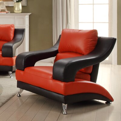 Palice Armchair Upholstery: Red Seat/Black Arms