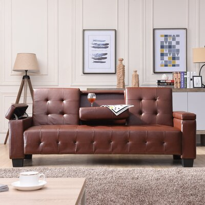 Derek Sleeper Sofa Upholstery: Faux Leather - Brown
