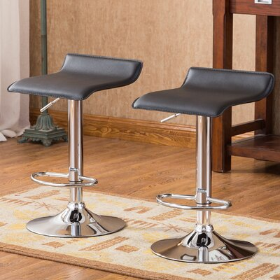 Mathison Adjustable Height Swivel Bar Stool Upholstery: Black