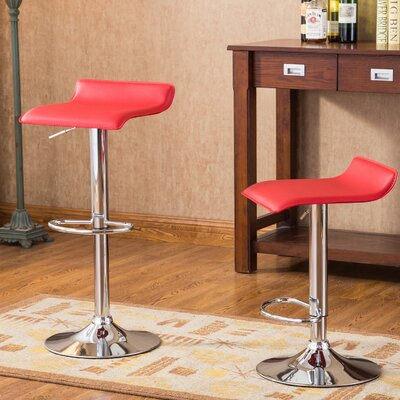 Mathison Adjustable Height Swivel Bar Stool Upholstery: Red