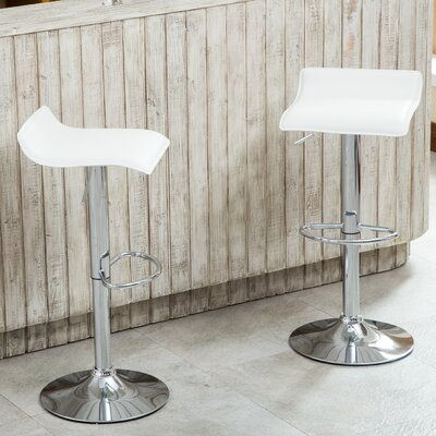 Mathison Adjustable Height Swivel Bar Stool Upholstery: White