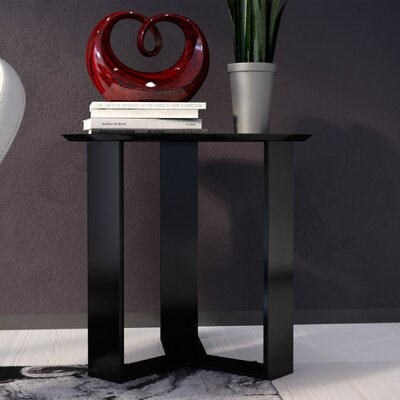 Emiliah Round End Table Color: Black Gloss
