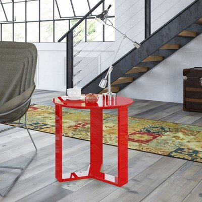 Emiliah Round End Table Color: Red