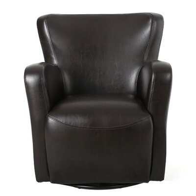 Makson Swivel Armchair Upholstery: Brown