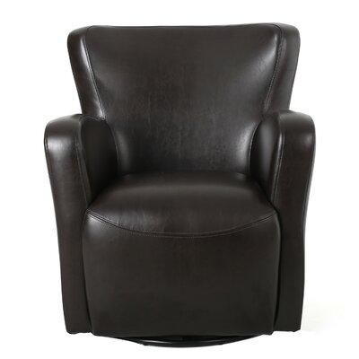 Britton Swivel Club Chair Upholstery: Brown