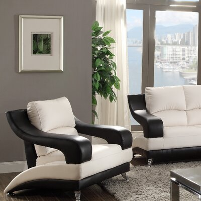 Terence Loveseat Upholstery: White Seat/Black Arms