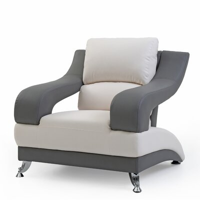 Palice Armchair Upholstery: White Seat/Gray Arms