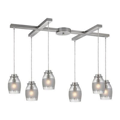 Rachelle 6-Light Oval Shade Kitchen Island Pendant Finish: Brushed Nickel