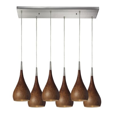 Alan 6-Light Metal Kitchen Island Pendant Shade Color: Burl Wood