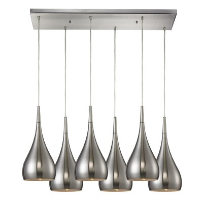 Alan 6-Light Metal Kitchen Island Pendant Shade Color: Satin Nickel