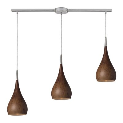 Alan 3-Light Glass Shade Kitchen Island Pendant Shade Color: Burl Wood