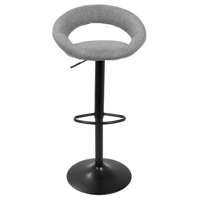 Calaveras Adjustable Height Swivel Bar Stool with Cushion Upholstery: Gray