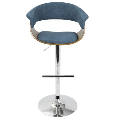 Garcia Adjustable Height Swivel Bar Stool Upholstery: Blue