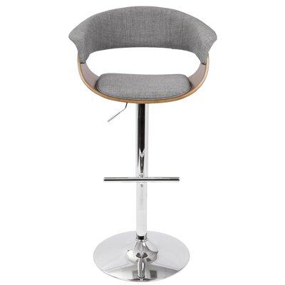 Garcia Adjustable Height Swivel Bar Stool Upholstery: Light Gray