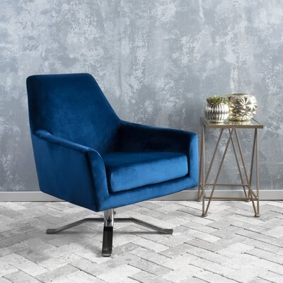 Edmund Swivel Club Chair Upholstery: Navy Blue