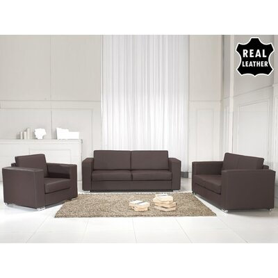 Mojokerto European 3 Piece Leather Living Room Set Upholstery: Brown