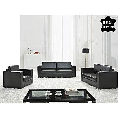 Mojokerto European 3 Piece Leather Living Room Set Upholstery: Black