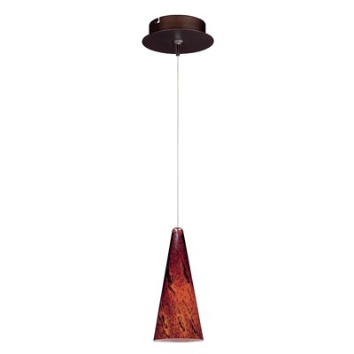 Echo Contemporary 1-Light Metal RapidJack Pendant and Canopy Glass Color: Amber Lava, Finish: Bronze