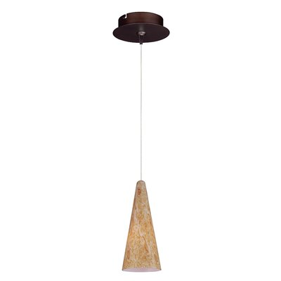 Straton 1-Light RapidJack Pendant and Canopy Glass Color: Gold Lava, Finish: Bronze