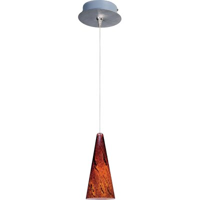 Echo Contemporary 1-Light Metal RapidJack Pendant and Canopy Glass Color: Amber Lava, Finish: Satin Nickel