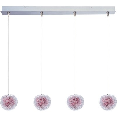 Straton 4-Light RapidJack Pendant and Canopy Glass Color: Red