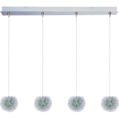 Straton 4-Light RapidJack Pendant and Canopy Glass Color: Green