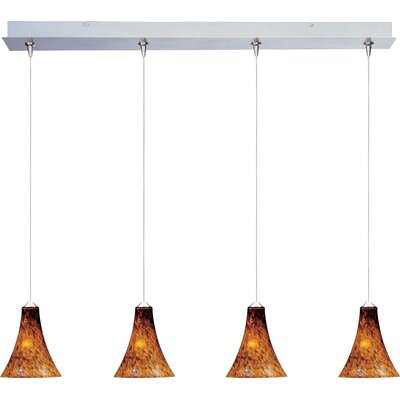 Straton 4-Light RapidJack Pendant and Canopy Glass Color: Amber Leopard, Bulb Type: GY6.35 T4 Xenon, Finish: Satin Nickel