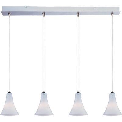 Straton 4-Light RapidJack Pendant and Canopy Glass Color: White Leopard, Bulb Type: GY6.35 T4 Xenon, Finish: Satin Nickel