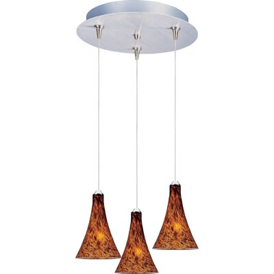Echo 3-Light RapidJack Pendant and Canopy Glass Color: Amber Leopard, Bulb Type: GY6.35 T4 Xenon, Finish: Bronze