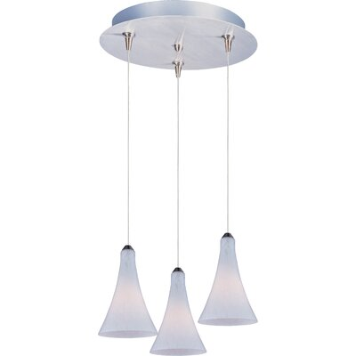 Echo 3-Light RapidJack Pendant and Canopy Glass Color: White Leopard, Bulb Type: G4 Xenon, Finish: Satin Nickel