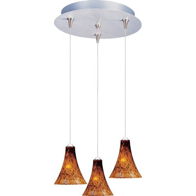 Echo 3-Light RapidJack Pendant and Canopy Glass Color: Amber Leopard, Bulb Type: GY6.35 T4 Xenon, Finish: Satin Nickel