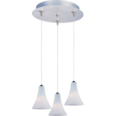 Echo 3-Light RapidJack Pendant and Canopy Glass Color: White Leopard, Bulb Type: GY6.35 T4 Xenon, Finish: Satin Nickel