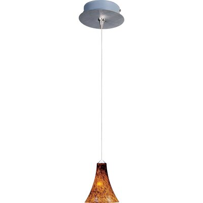 Straton 1-Light RapidJack Pendant and Canopy Glass Color: Amber Leopard, Bulb Type: GY6.35 T4 Xenon, Finish: Satin Nickel