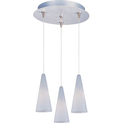 Echo Modern 3-Light RapidJack Pendant and Canopy Glass Color: White Lava, Finish: Satin Nickel