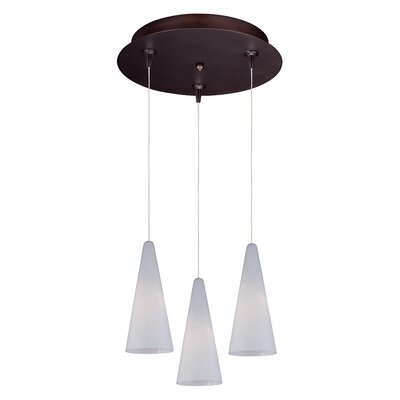 Echo Modern 3-Light RapidJack Pendant and Canopy Glass Color: White Lava, Finish: Bronze