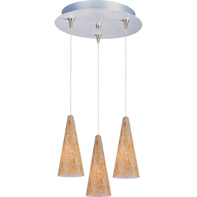 Straton 3-Light RapidJack Pendant and Canopy Glass Color: Gold Lava, Finish: Satin Nickel